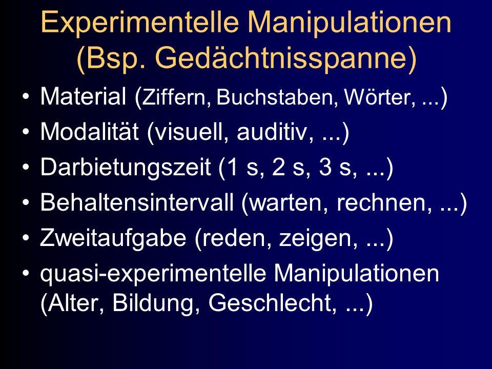 Experimentelle Manipulationen (Bsp. Gedächtnisspanne)