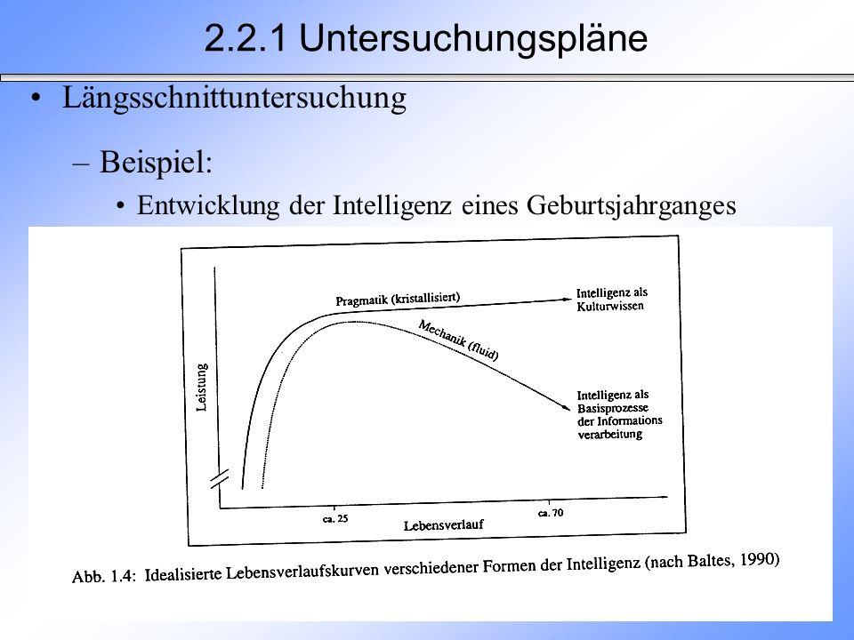 2.2.1 Untersuchungspläne Längsschnittuntersuchung Beispiel: