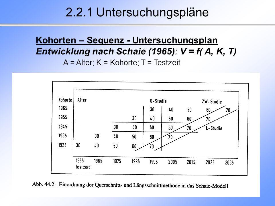 2.2.1 Untersuchungspläne Kohorten – Sequenz - Untersuchungsplan