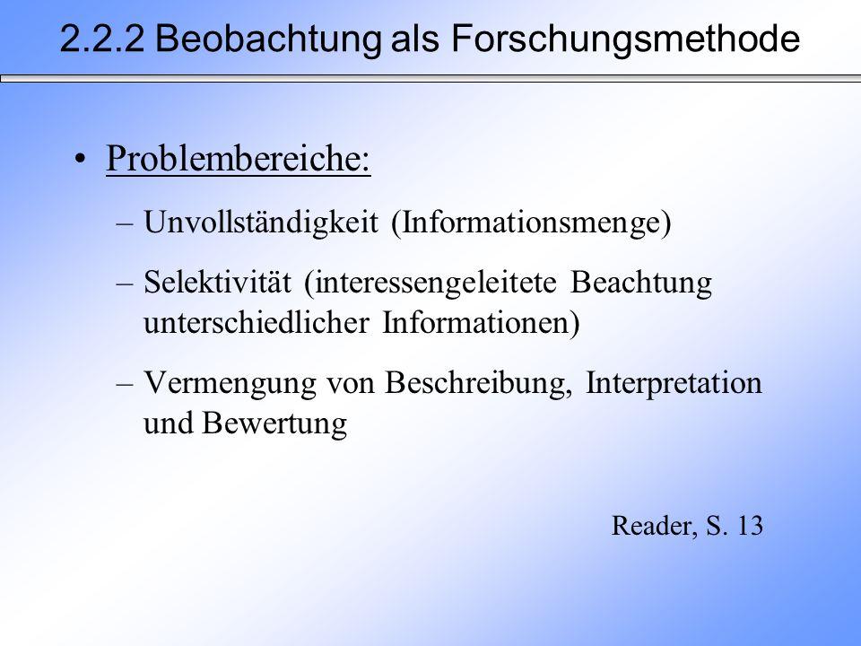 2.2.2 Beobachtung als Forschungsmethode