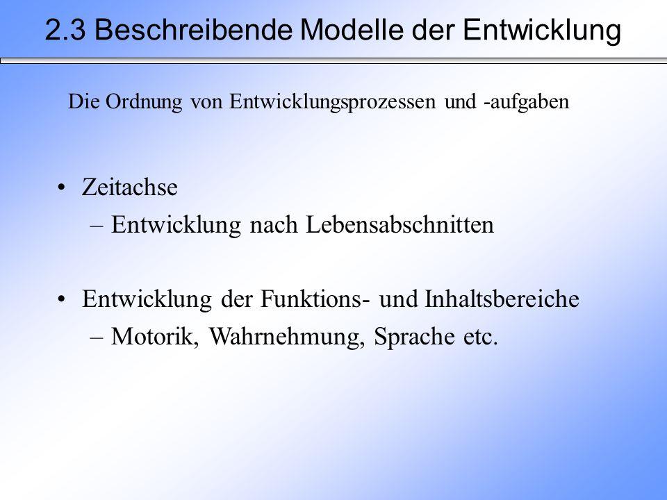 2.3 Beschreibende Modelle der Entwicklung