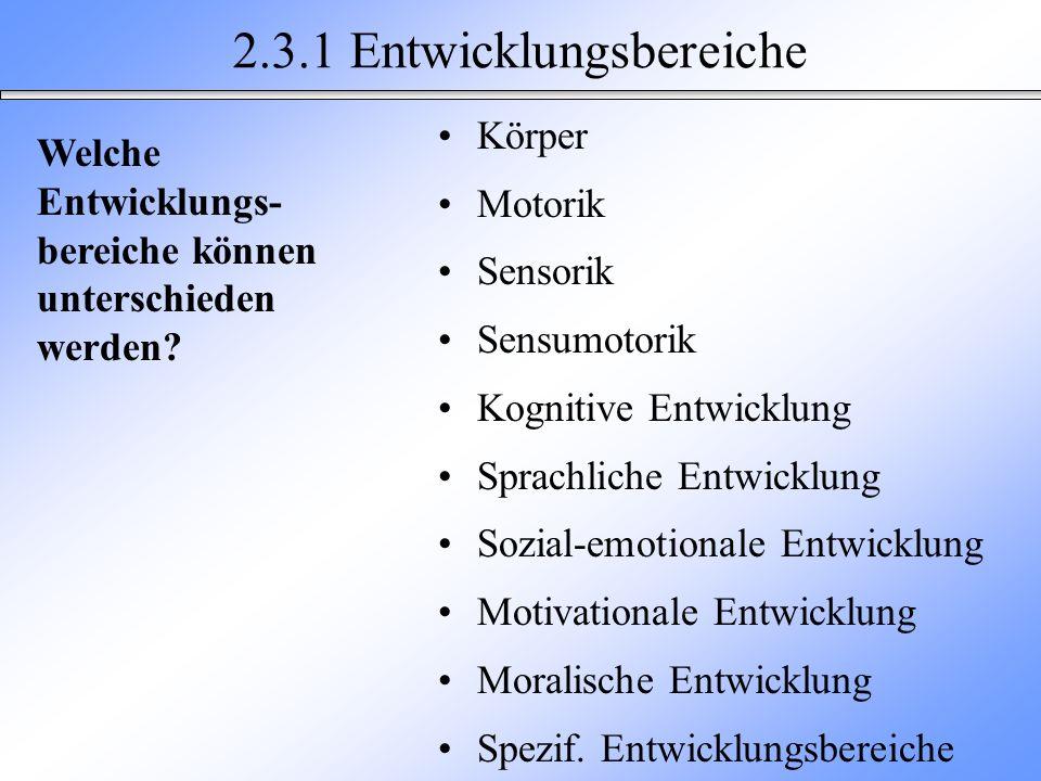 2.3.1 Entwicklungsbereiche