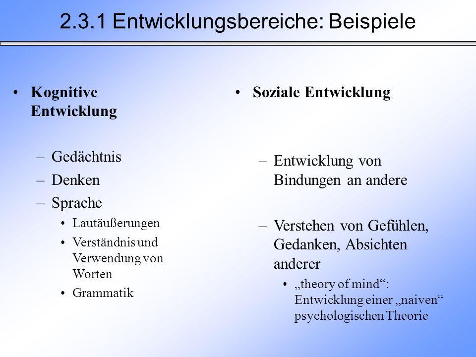 2.3.1 Entwicklungsbereiche: Beispiele