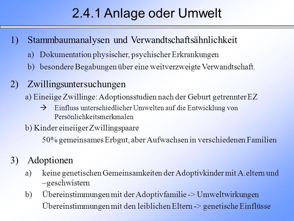 2.4.1 Anlage oder Umwelt Stammbaumanalysen und Verwandtschaftsähnlichkeit. a) Dokumentation physischer, psychischer Erkrankungen.