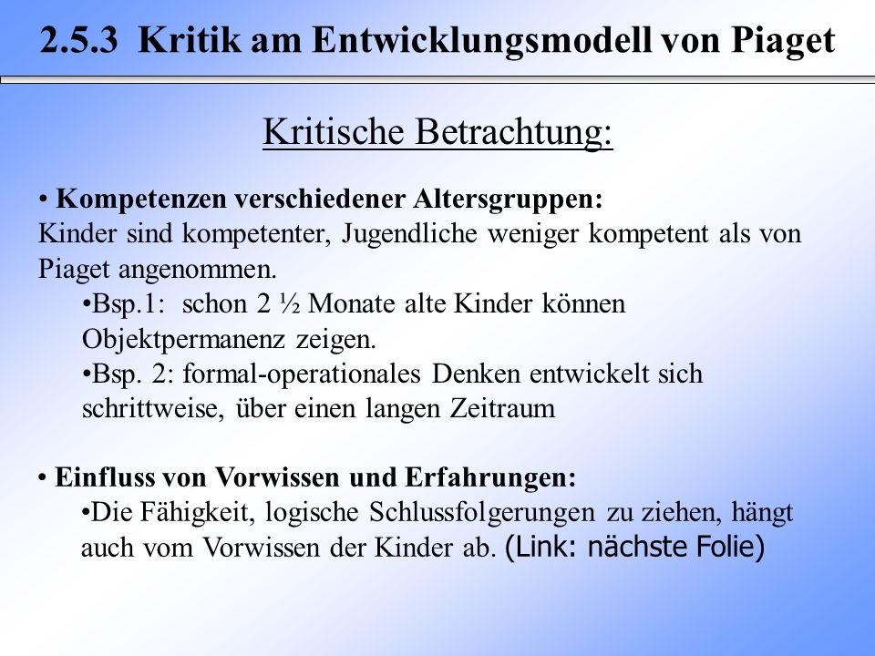 2.5.3 Kritik am Entwicklungsmodell von Piaget