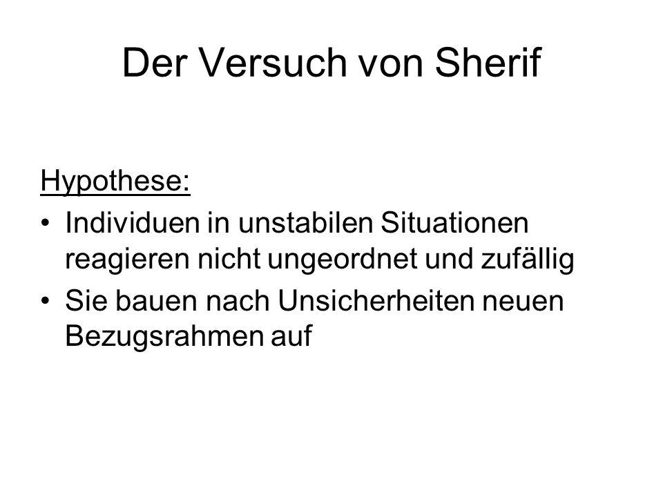 Der Versuch von Sherif Hypothese: