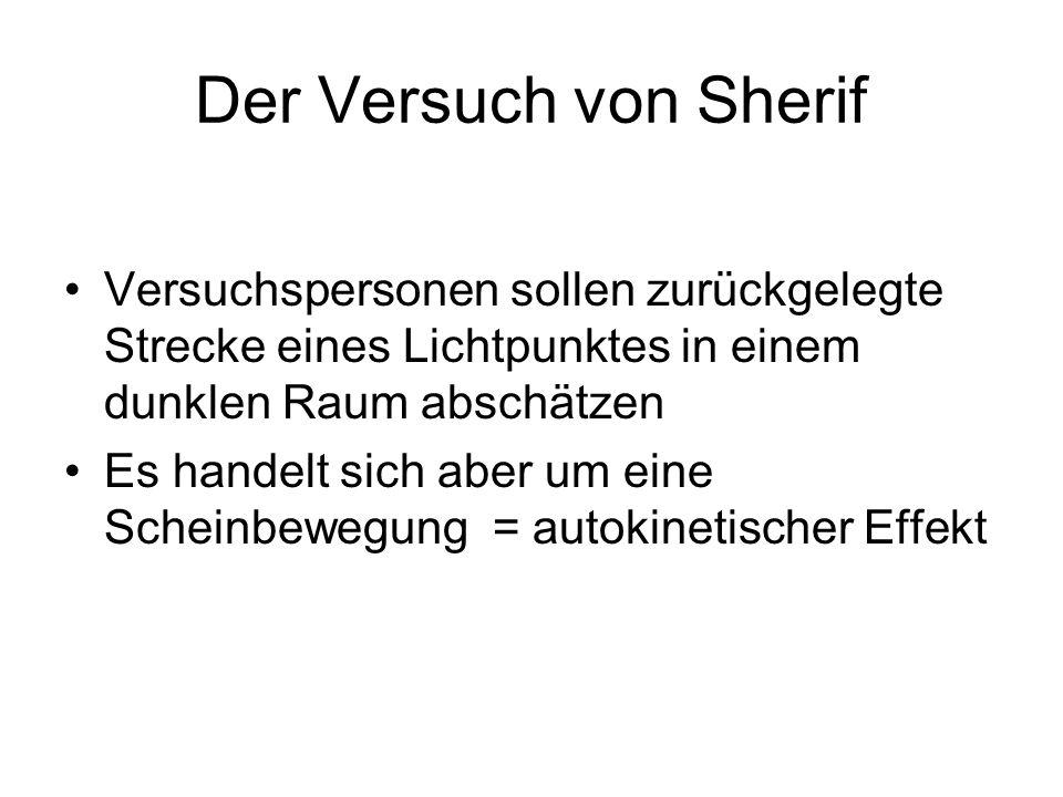 Der Versuch von Sherif Versuchspersonen sollen zurückgelegte Strecke eines Lichtpunktes in einem dunklen Raum abschätzen.