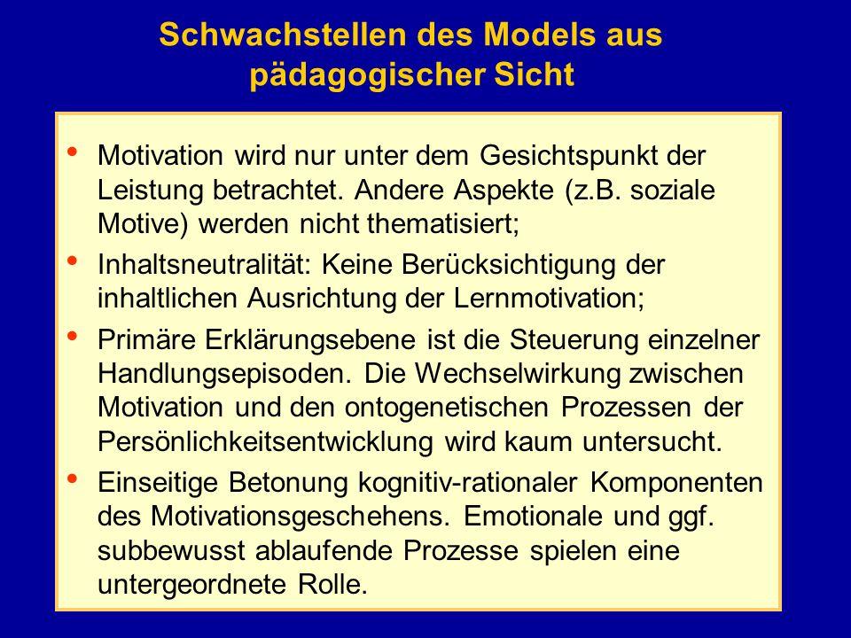 Schwachstellen des Models aus pädagogischer Sicht