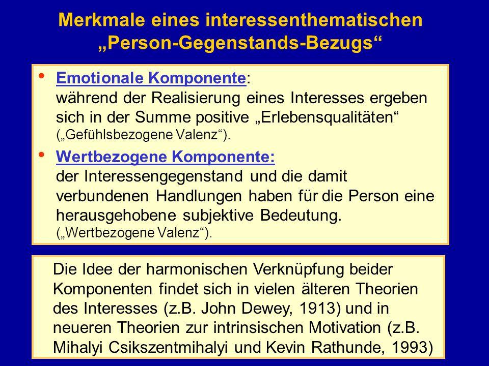 """Merkmale eines interessenthematischen """"Person-Gegenstands-Bezugs"""