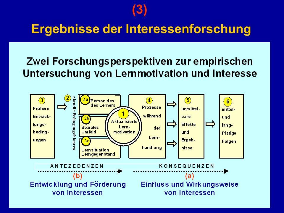 (3) Ergebnisse der Interessenforschung