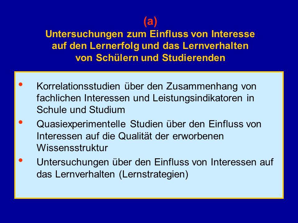 (a) Untersuchungen zum Einfluss von Interesse auf den Lernerfolg und das Lernverhalten von Schülern und Studierenden