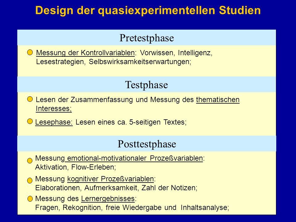 Design der quasiexperimentellen Studien