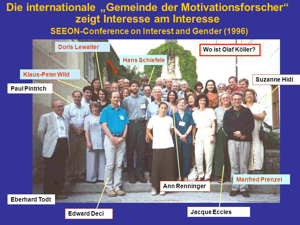 "Die internationale ""Gemeinde der Motivationsforscher zeigt Interesse am Interesse SEEON-Conference on Interest and Gender (1996)"