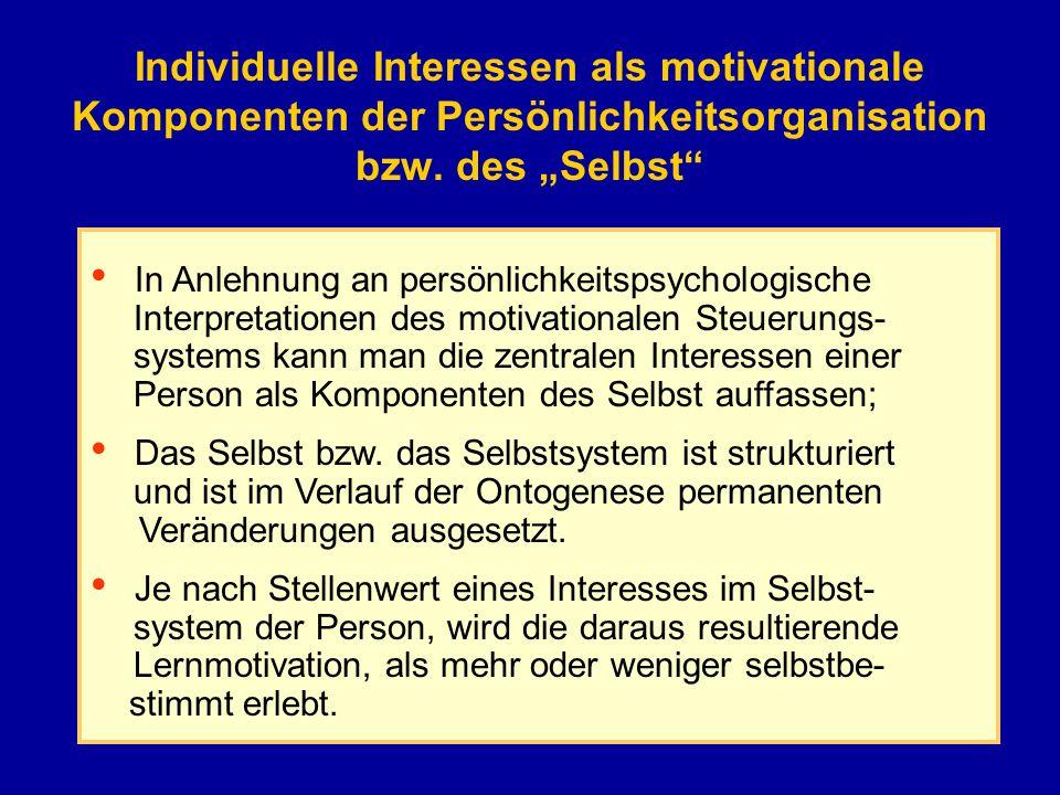 """Individuelle Interessen als motivationale Komponenten der Persönlichkeitsorganisation bzw. des """"Selbst"""