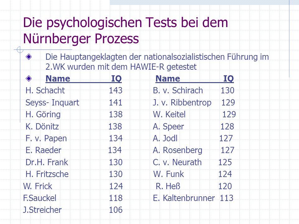 Die psychologischen Tests bei dem Nürnberger Prozess