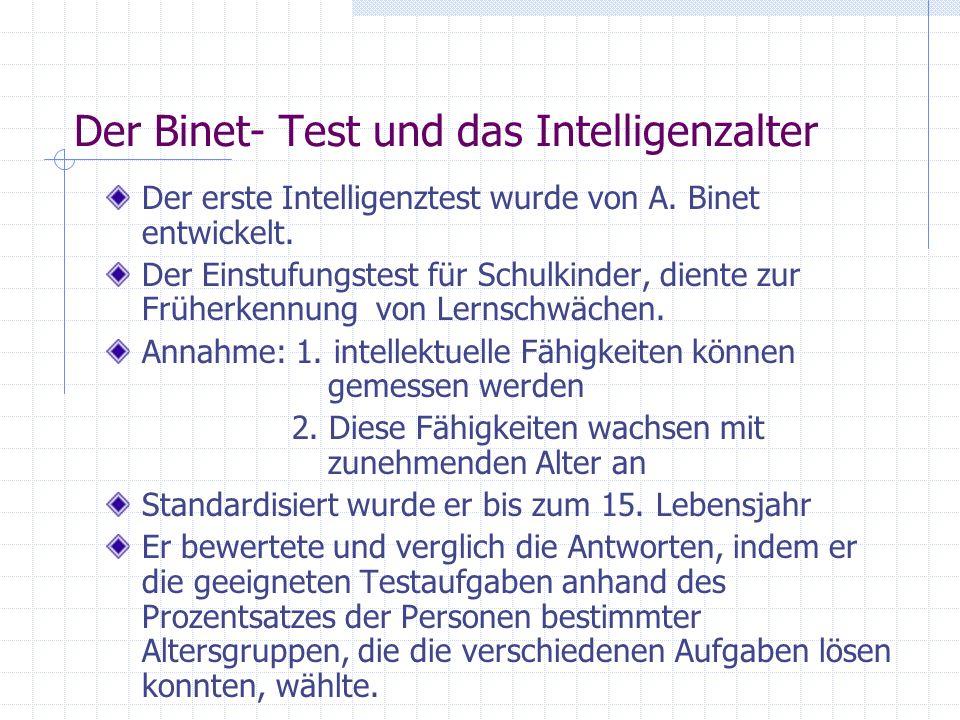 Der Binet- Test und das Intelligenzalter