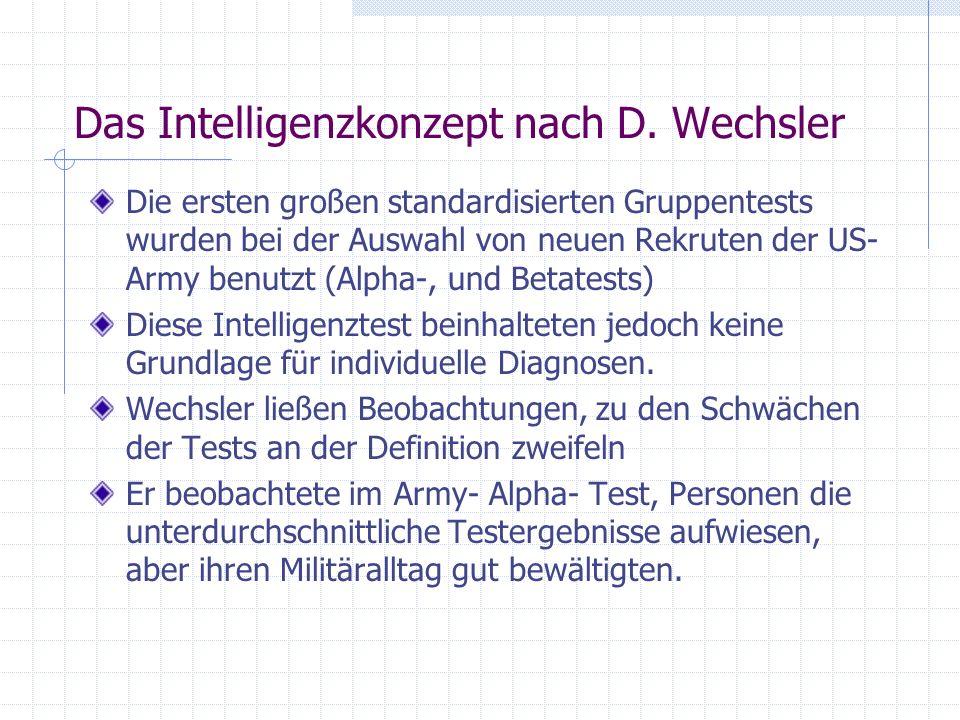 Das Intelligenzkonzept nach D. Wechsler