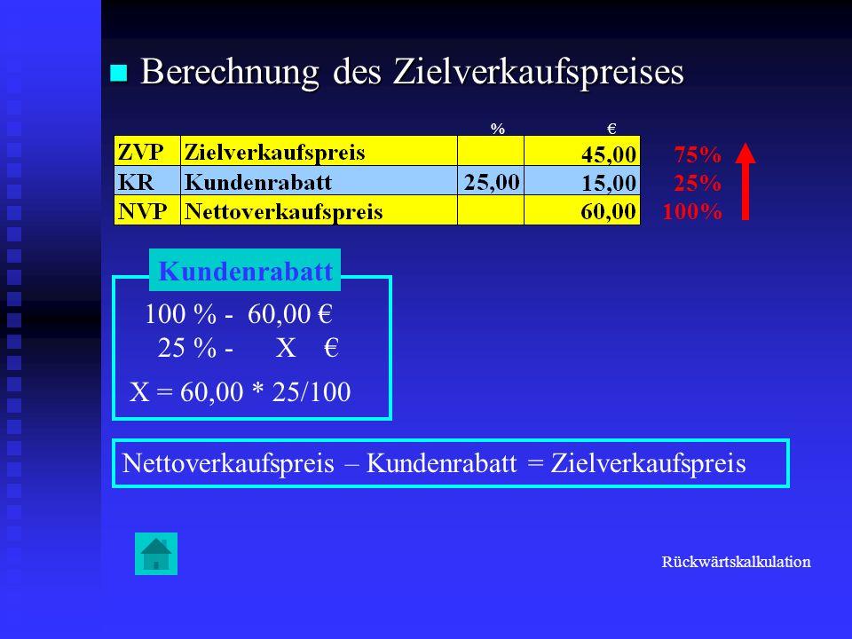 Berechnung des Zielverkaufspreises