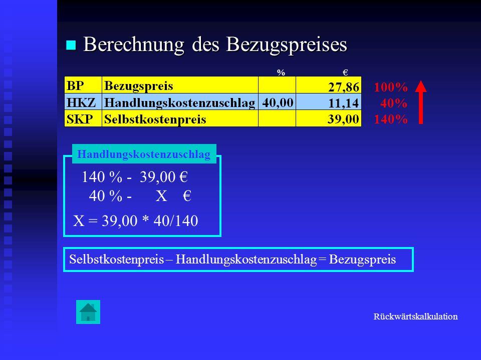 Berechnung des Bezugspreises