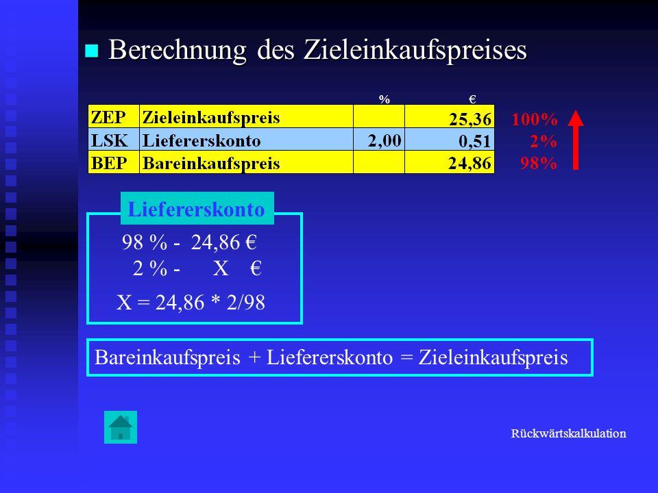 Berechnung des Zieleinkaufspreises