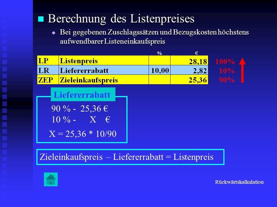 Berechnung des Listenpreises