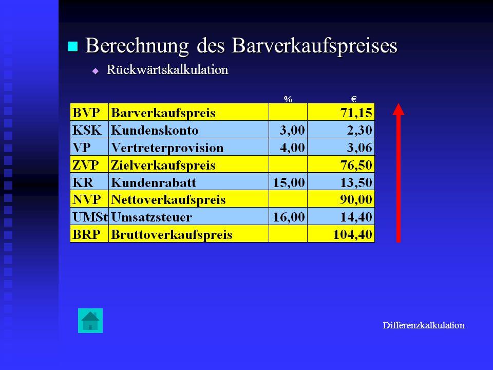 Berechnung des Barverkaufspreises