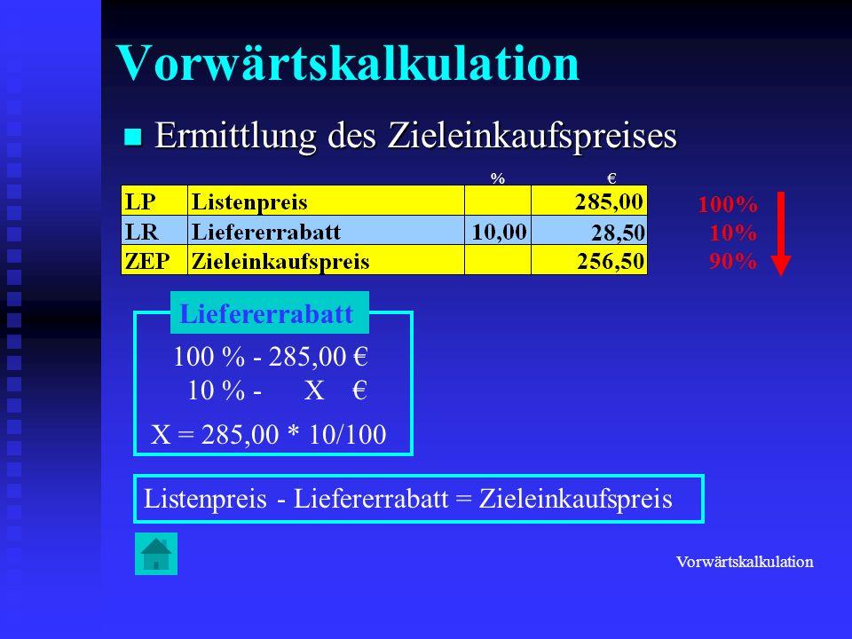 Vorwärtskalkulation Ermittlung des Zieleinkaufspreises Liefererrabatt