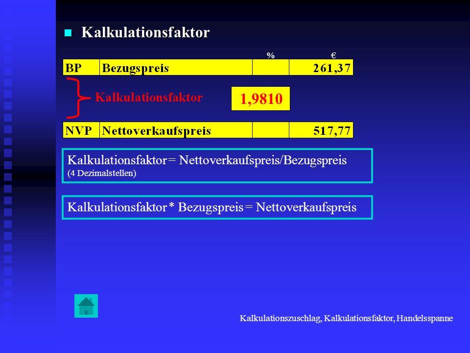 Kalkulationsfaktor 1,9810 Kalkulationsfaktor