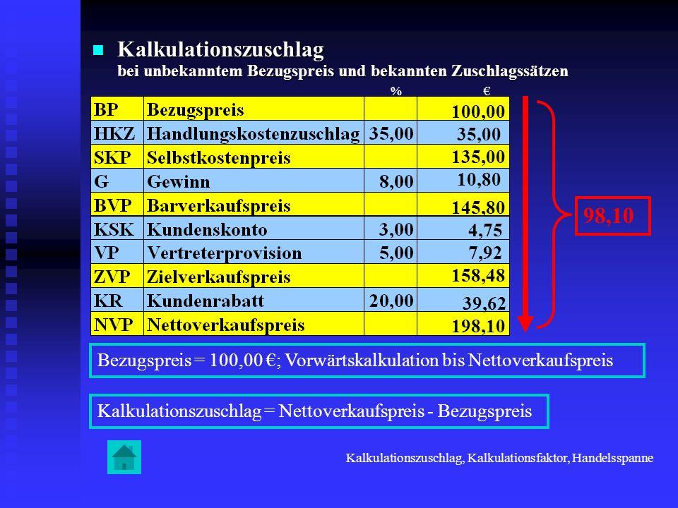 Kalkulationszuschlag bei unbekanntem Bezugspreis und bekannten Zuschlagssätzen