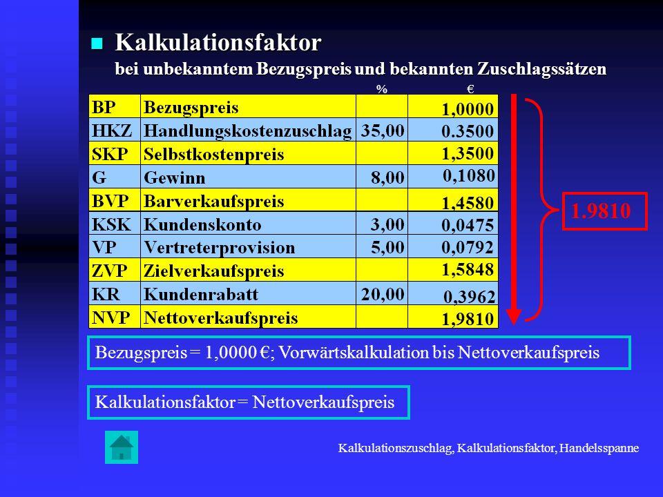 Kalkulationsfaktor bei unbekanntem Bezugspreis und bekannten Zuschlagssätzen