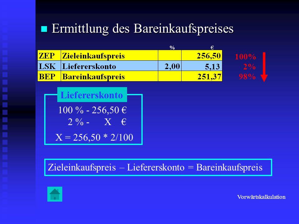 Ermittlung des Bareinkaufspreises