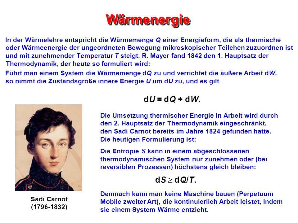 Wärmenergie dU = dQ + dW. dS  dQ/T.