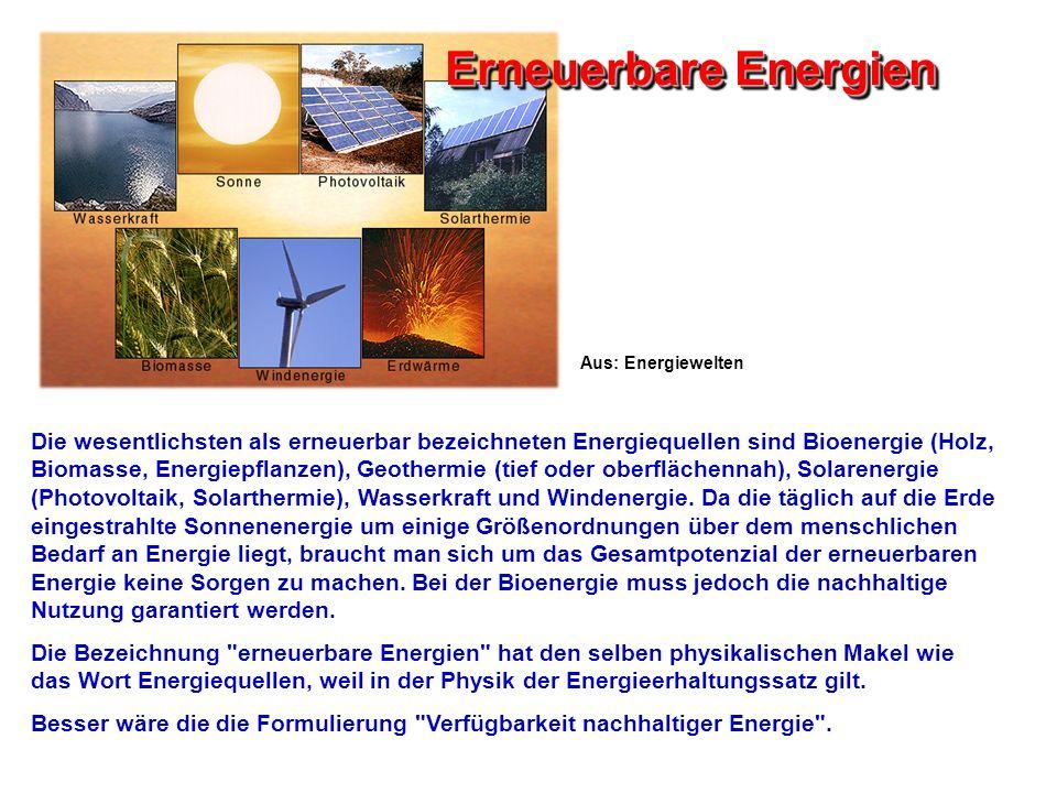 Erneuerbare Energien Aus: Energiewelten.