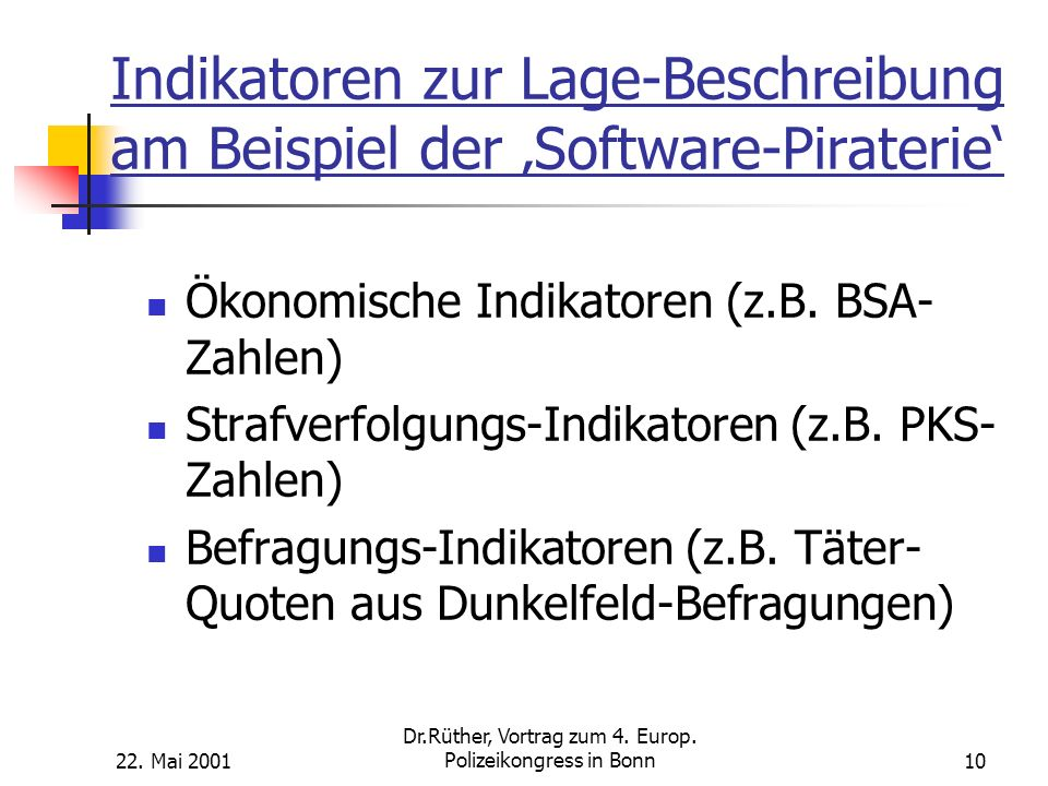 Indikatoren zur Lage-Beschreibung am Beispiel der 'Software-Piraterie'