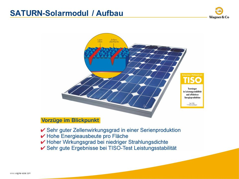 SATURN-Solarmodul / Aufbau