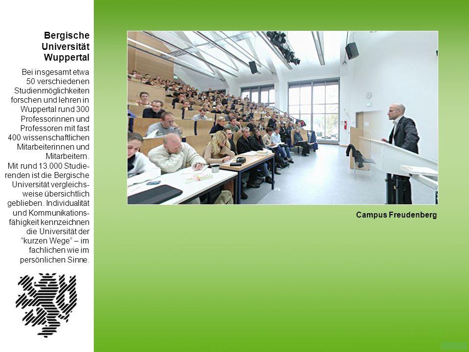 Bergische Universität Wuppertal Bei insgesamt etwa