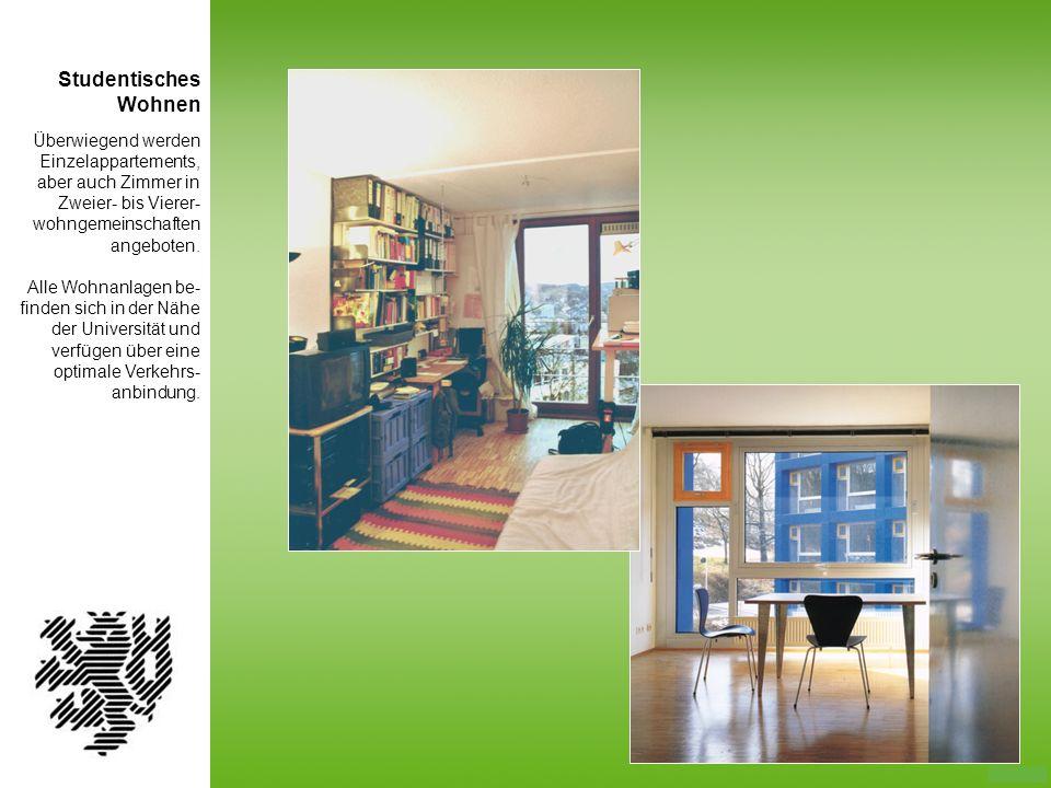Studentisches Wohnen. Überwiegend werden Einzelappartements, aber auch Zimmer in Zweier- bis Vierer-wohngemeinschaften angeboten.