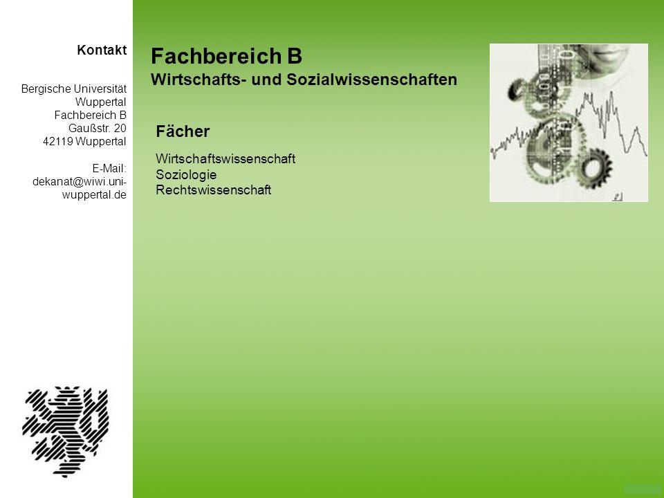 Fachbereich B Wirtschafts- und Sozialwissenschaften Fächer Kontakt