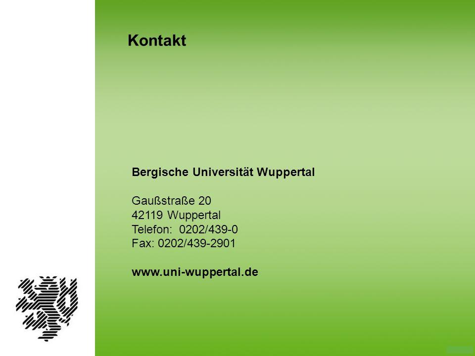 Kontakt Bergische Universität Wuppertal Gaußstraße 20 42119 Wuppertal