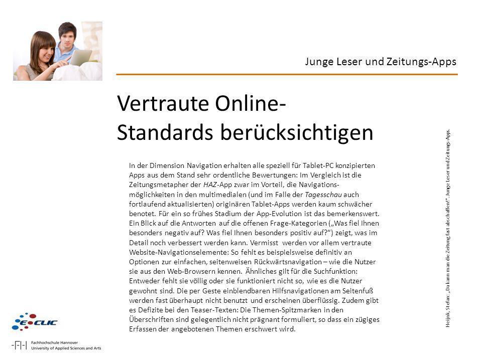 Vertraute Online-Standards berücksichtigen