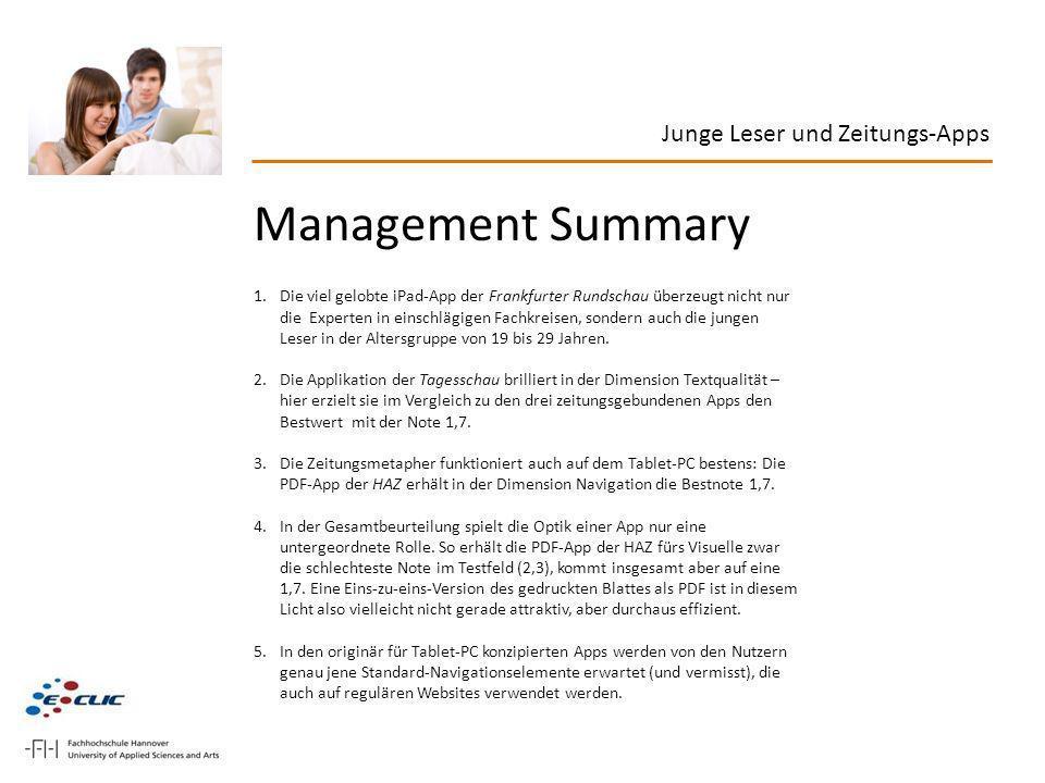 Management Summary Junge Leser und Zeitungs-Apps