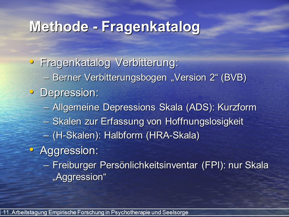 Methode - Fragenkatalog