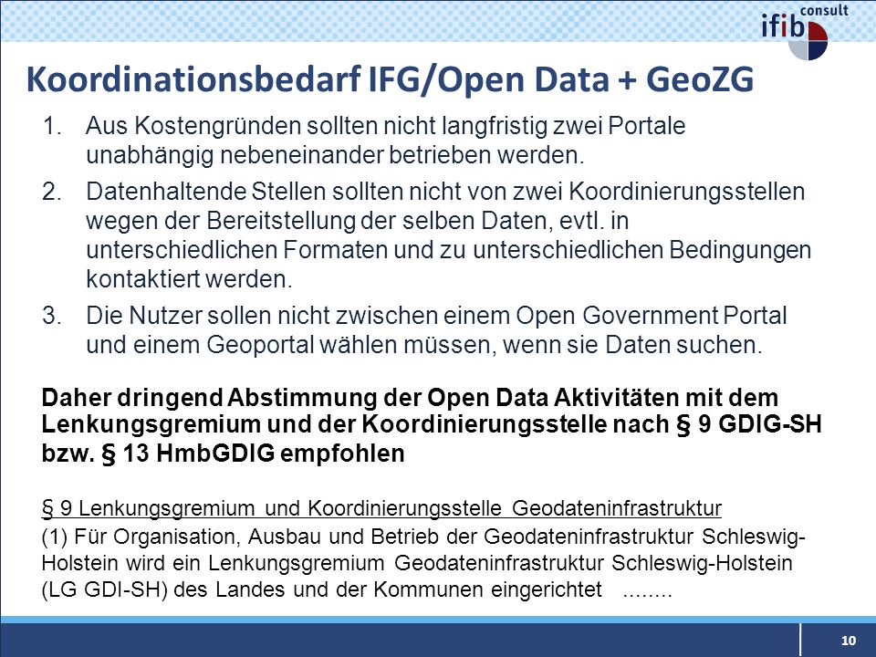 Koordinationsbedarf IFG/Open Data + GeoZG