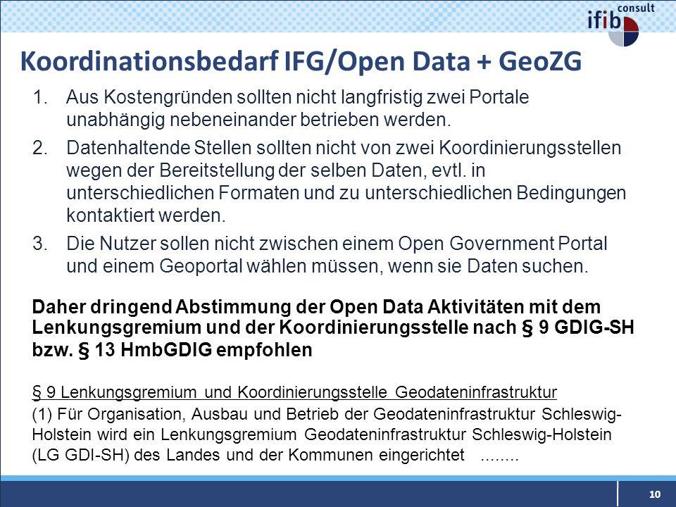 Koordinationsbedarf IFG/Open Data + GeoZG