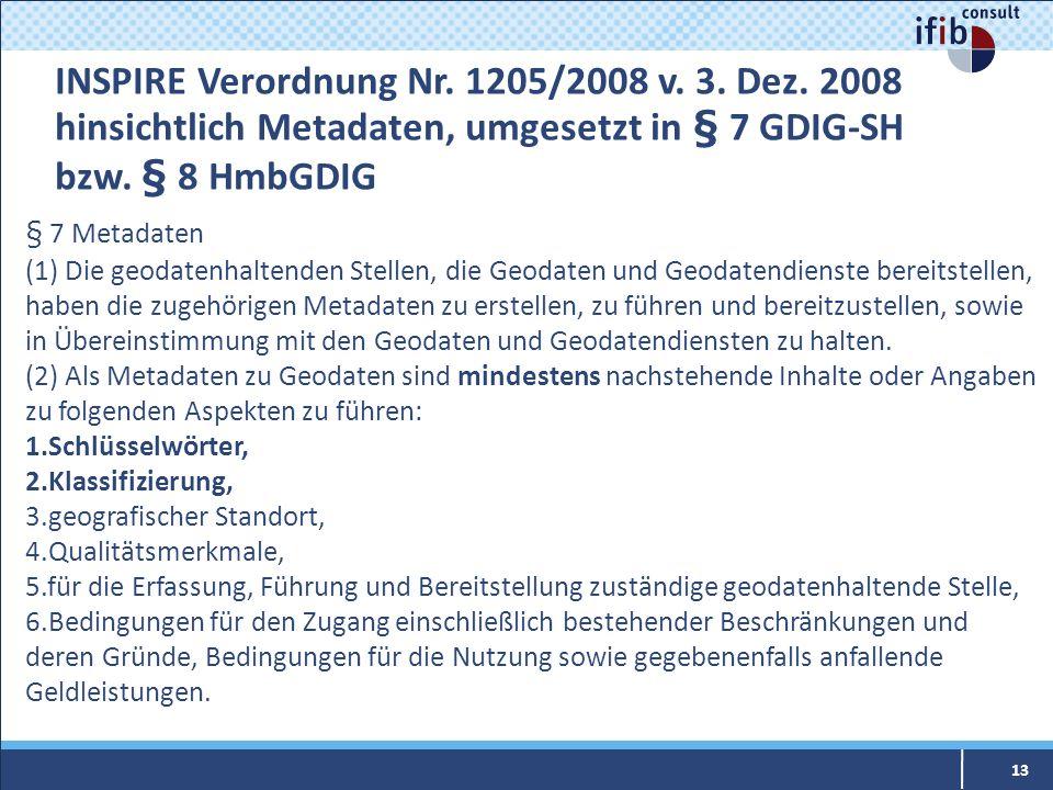 INSPIRE Verordnung Nr. 1205/2008 v. 3. Dez