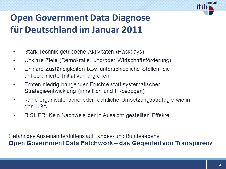 Open Government Data Diagnose für Deutschland im Januar 2011