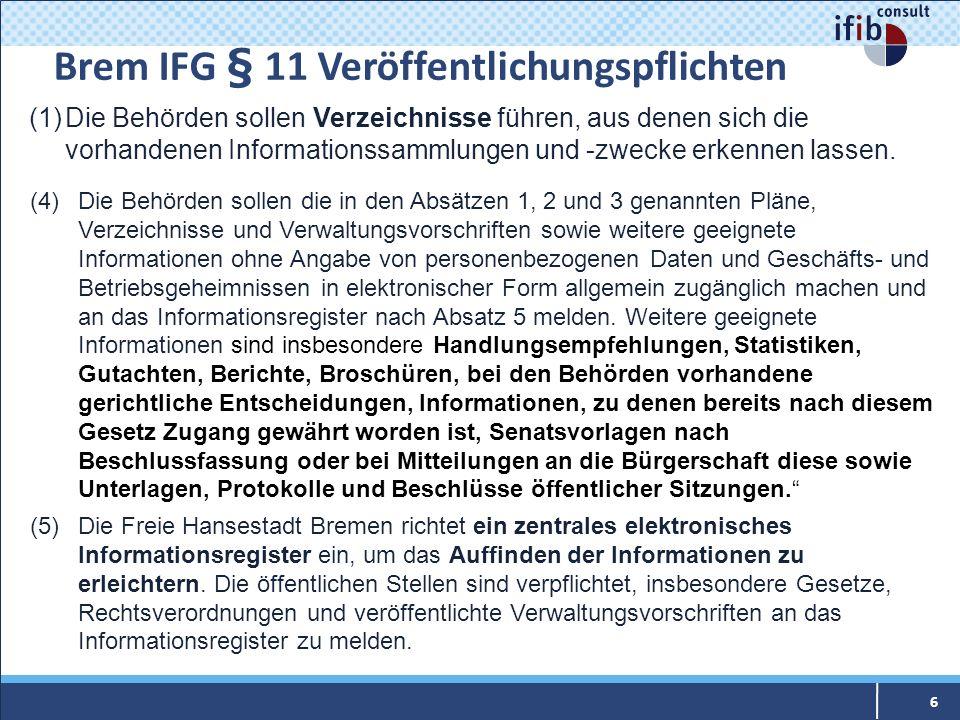 Brem IFG § 11 Veröffentlichungspflichten