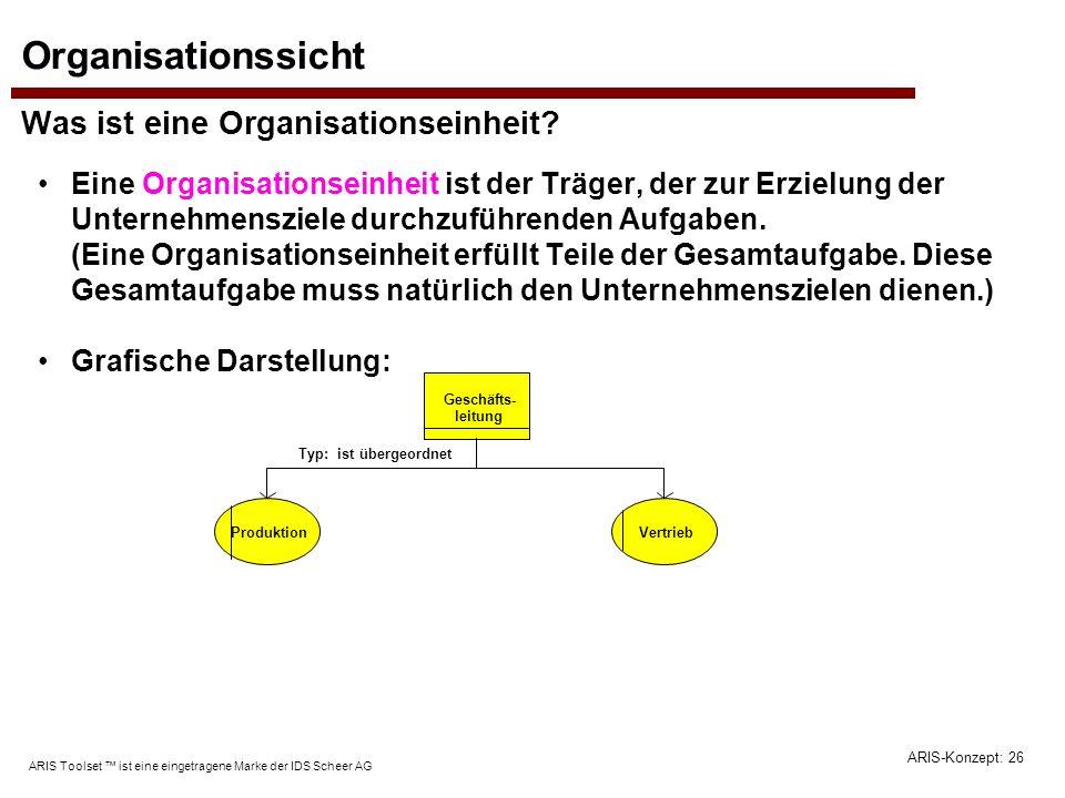 Organisationssicht Was ist eine Organisationseinheit