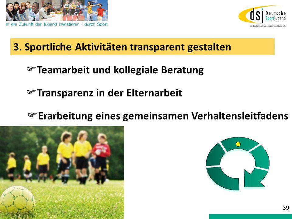 3. Sportliche Aktivitäten transparent gestalten