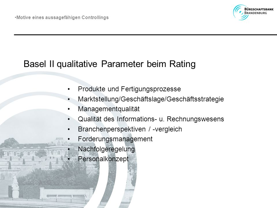 Basel II qualitative Parameter beim Rating